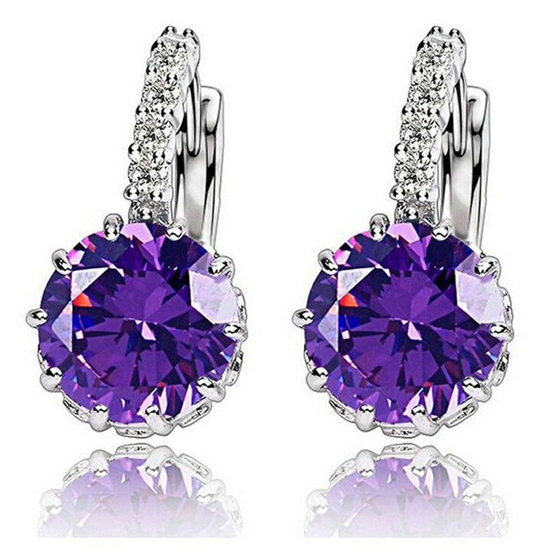 80b1f20d6c Details about Sterling silver cubic zirconia Amethyst Lady Stud Hoop ...