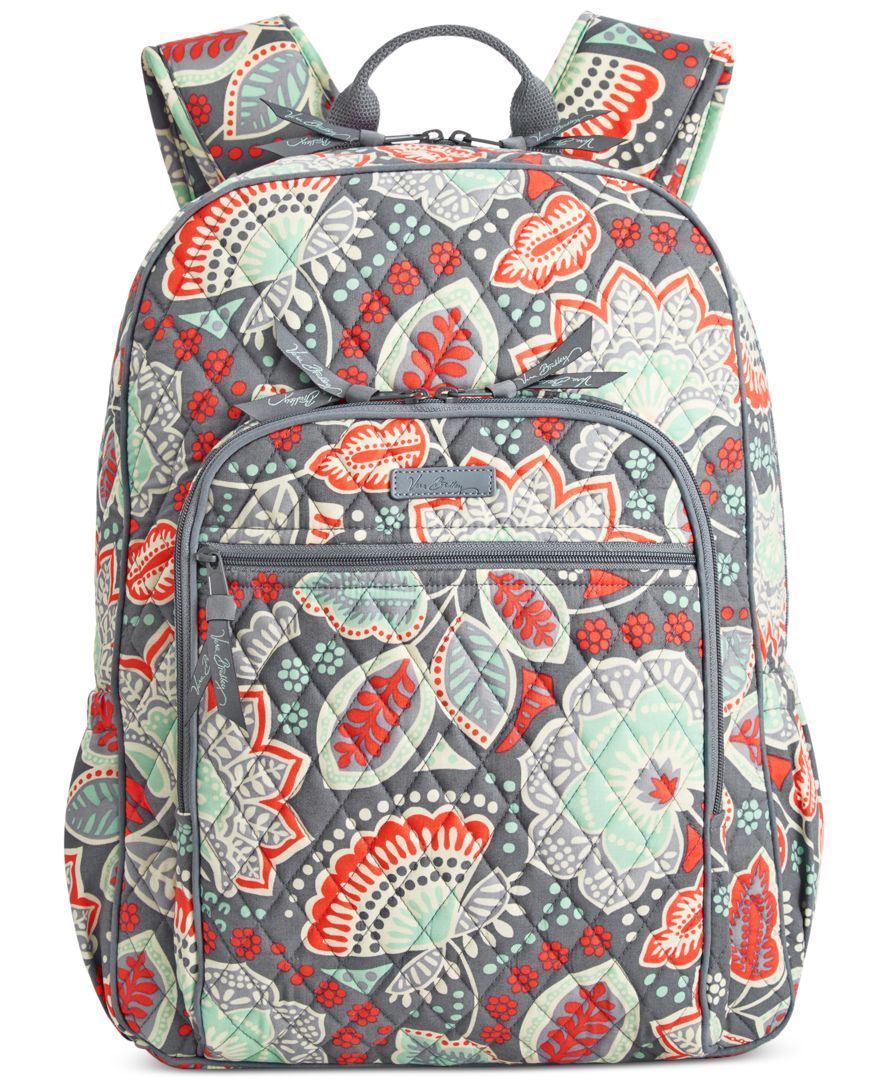 Old school cool. Vera Bradley s Campus Backpack combines all the fun  details… 7986d972d03e6