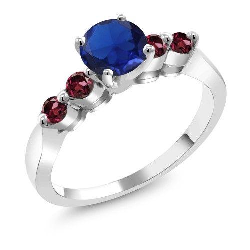 1.36 Ct Round Blue Created Sapphire Red Rhodolite Garnet 18K White Gold Ring, Women's, Size: 6
