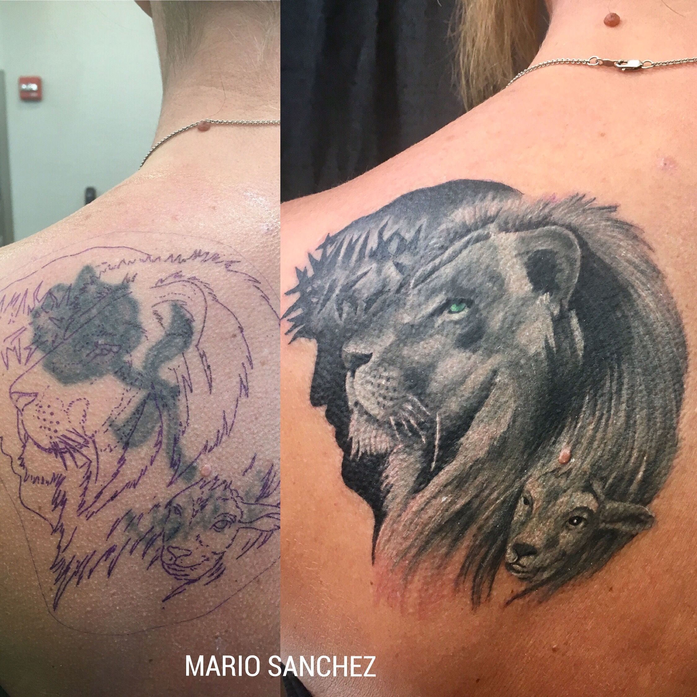 Jesus Lion And Lamb Cover Up Tattoo Cover Ups Jesus Tattoo