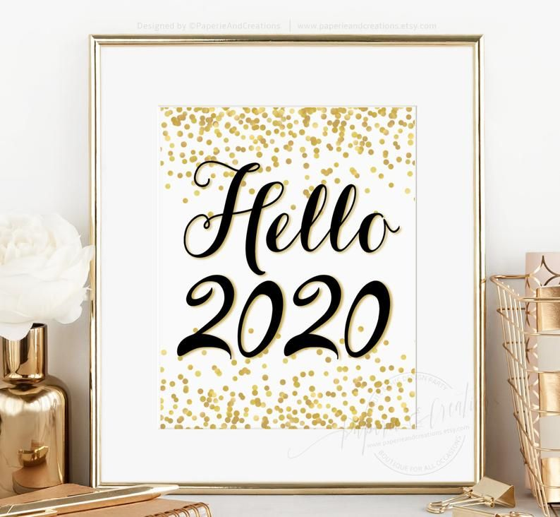 Hello 2020 New Year Eve Sign Gold and Black Poster Wall ...