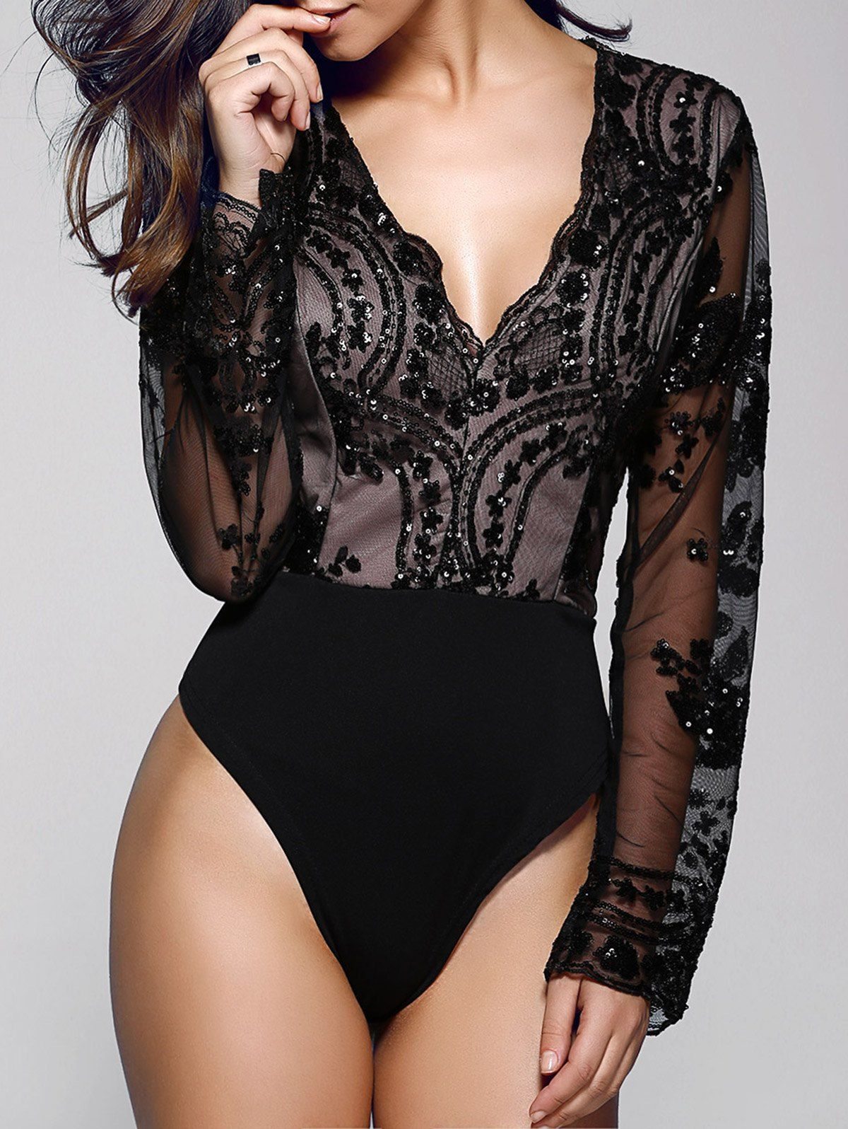 Stylish Plunging Neck Long Sleeve Floral Sequin Women s Bodysuit ... c7e3adf53