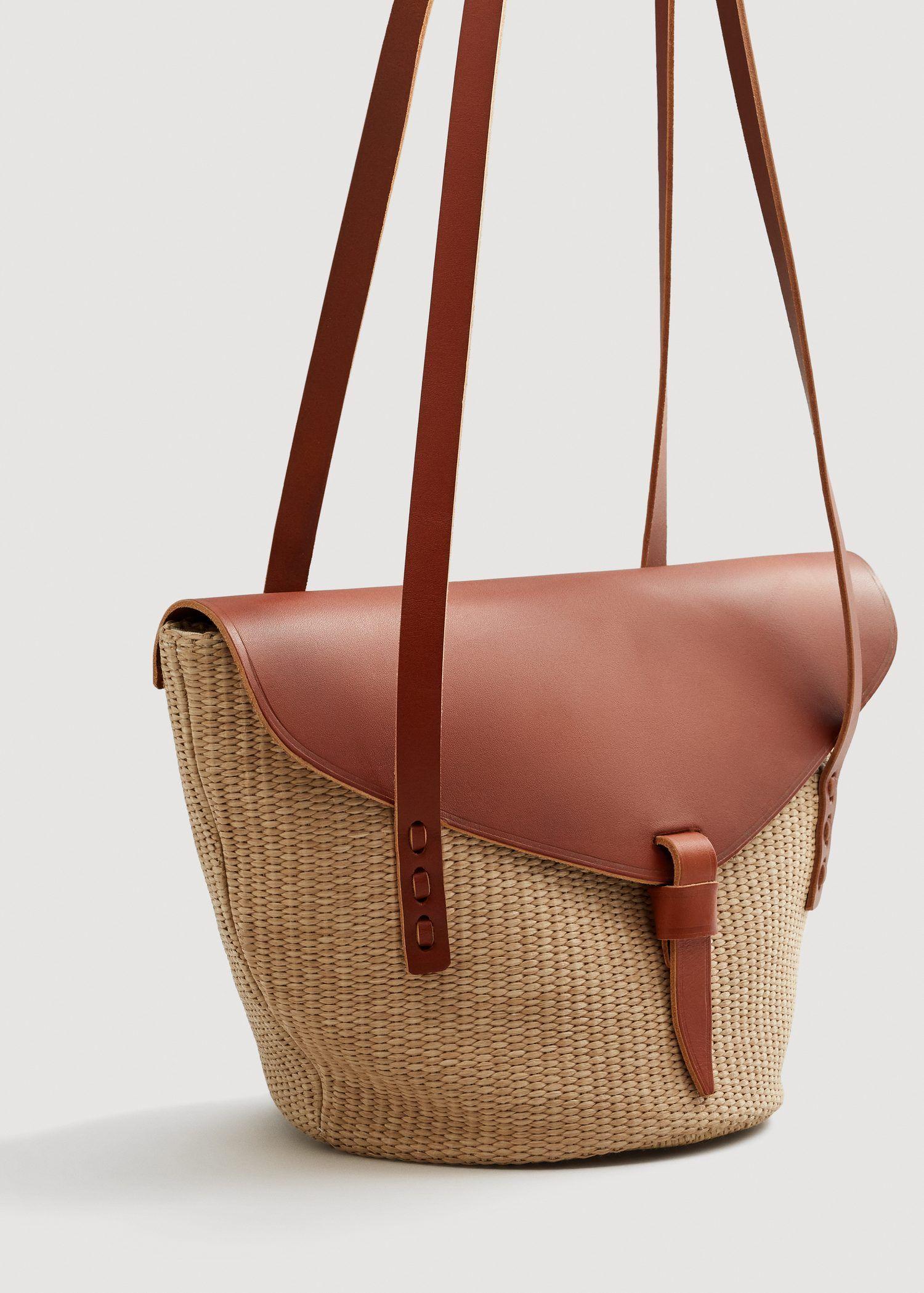 90fd7a20a Bolso rafia solapa piel - Mujer en 2019 | Bags and clutches | Bolso ...