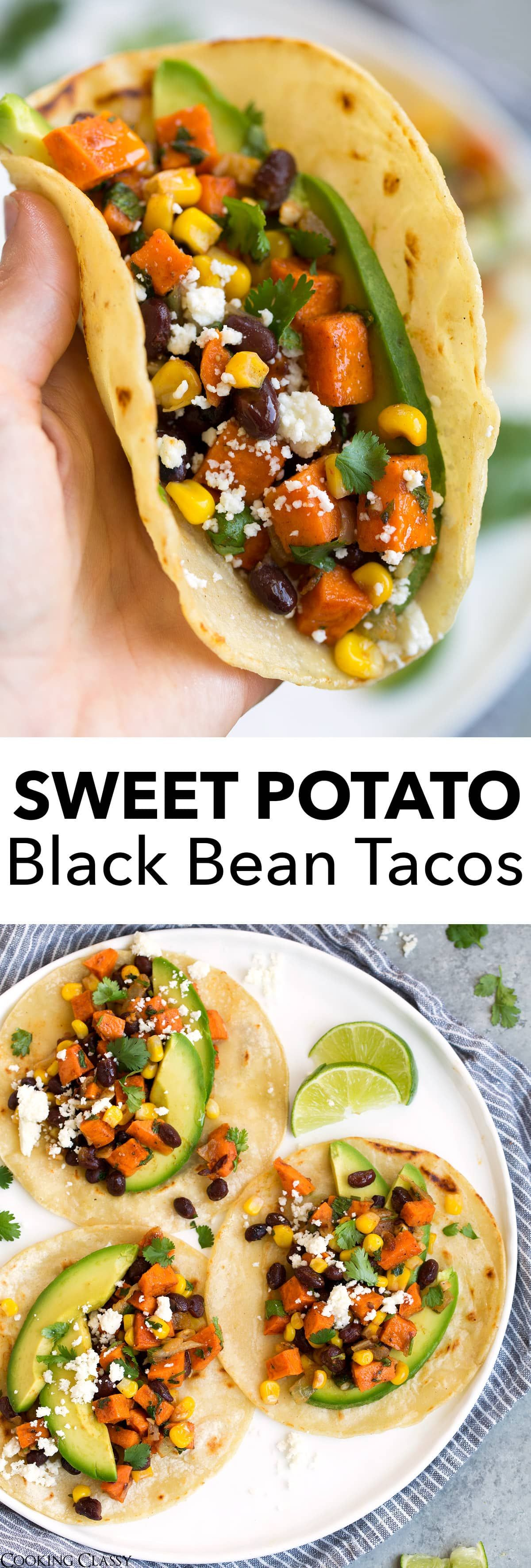 Honey Lime Sweet Potato Black Bean Tacos  These healthy tacos have the best blend of flavors and no one will even miss the meat Loaded with roasted sweet potatoes hearty...