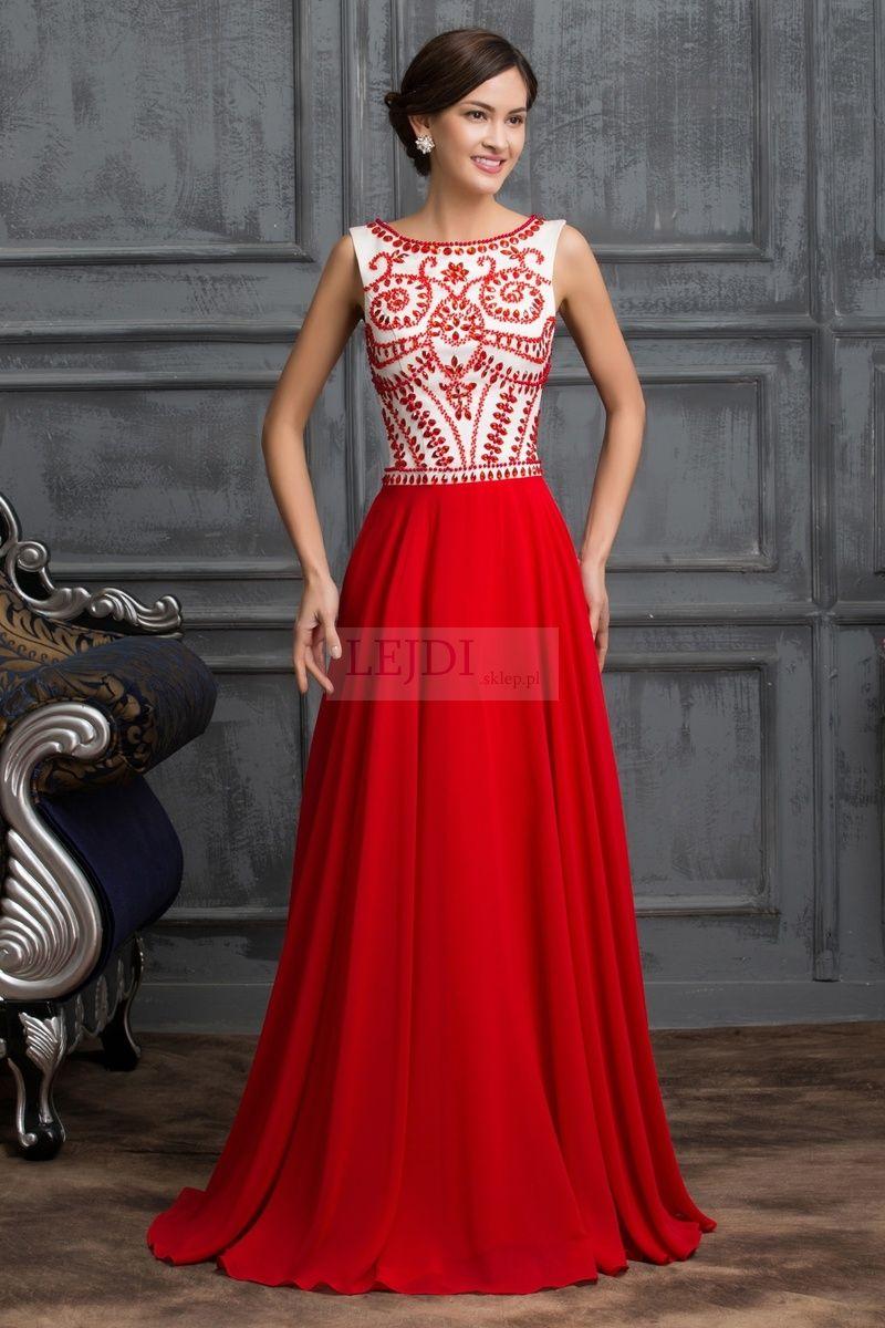 Red dress in sheri Hill style. Długa czerwona suknia wieczorowa w ...