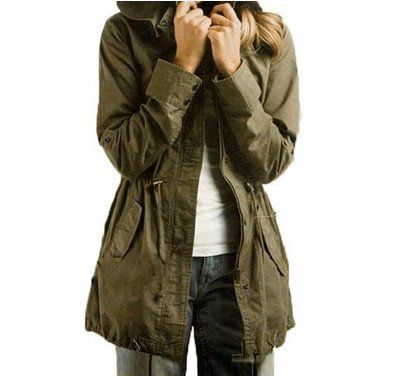 Vedem Womens Hooded Drawstring Army Green Military Jacket Parka Coat XL