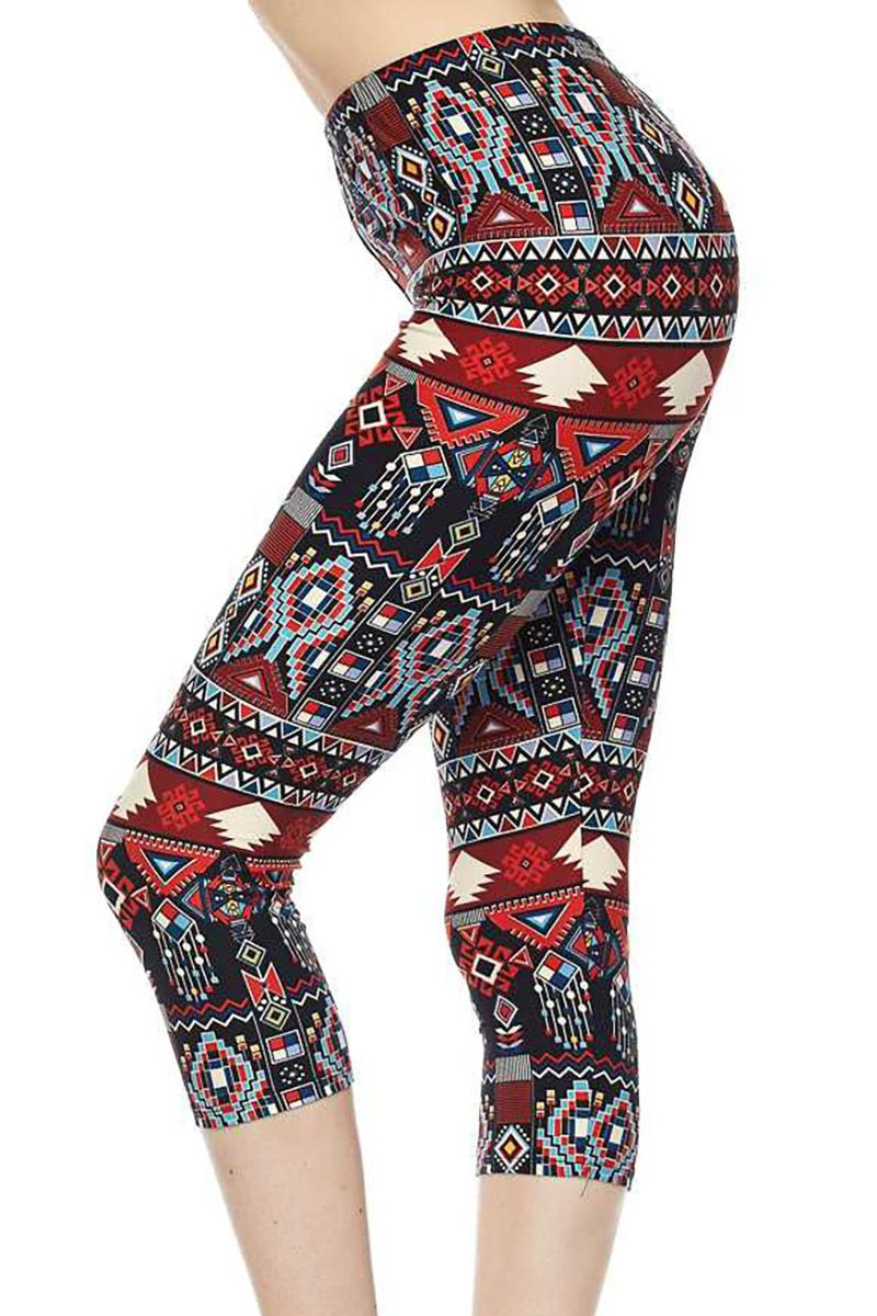 55f817d1389a34 We are swooning over our new Brushed Red Tribal Capris! These capri  leggings feature a