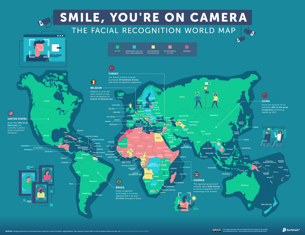 Mapped The State of Facial Recognition Around the World