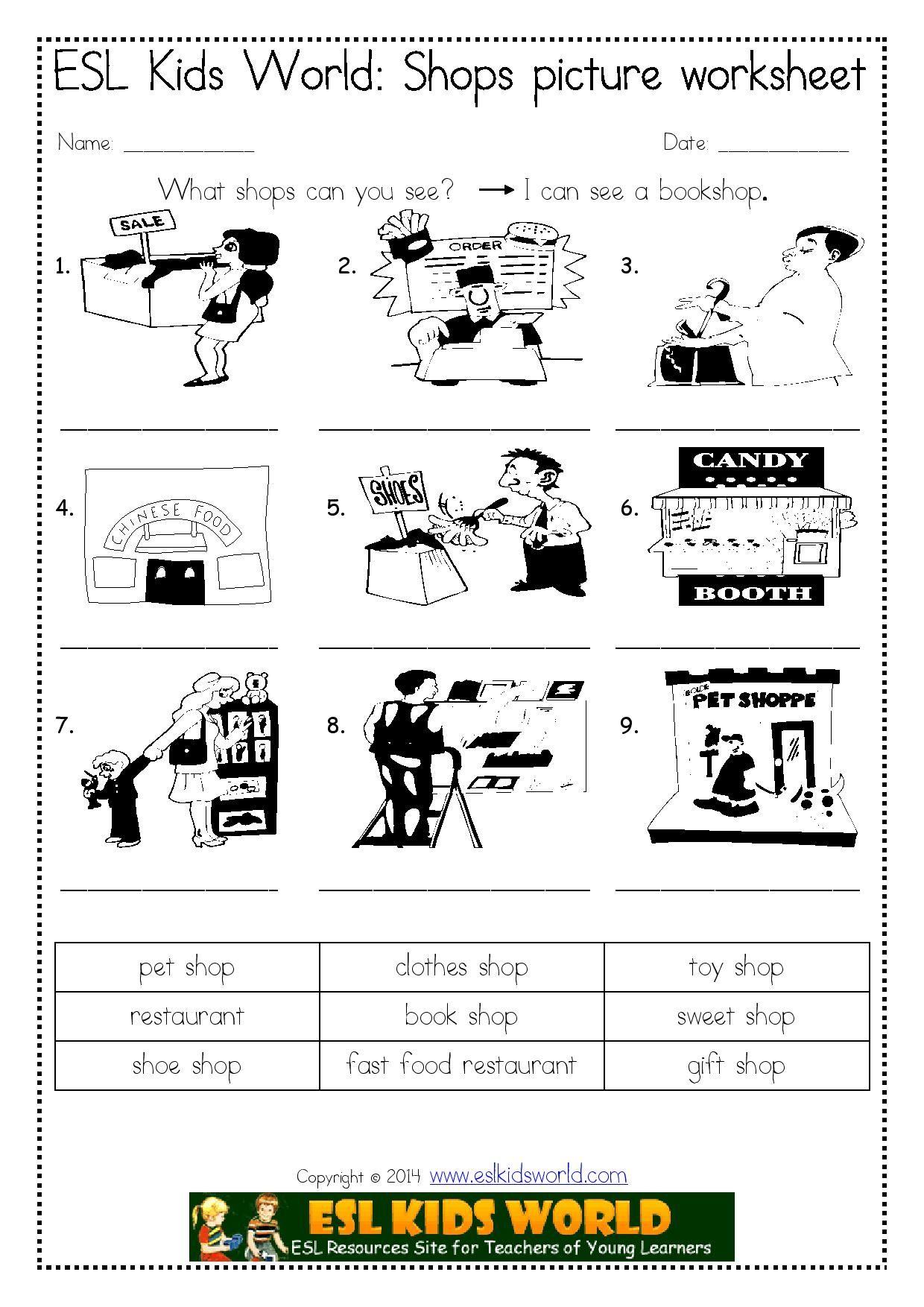 Shops Picture Worksheet Page 001 1 240 1 754 Pixels