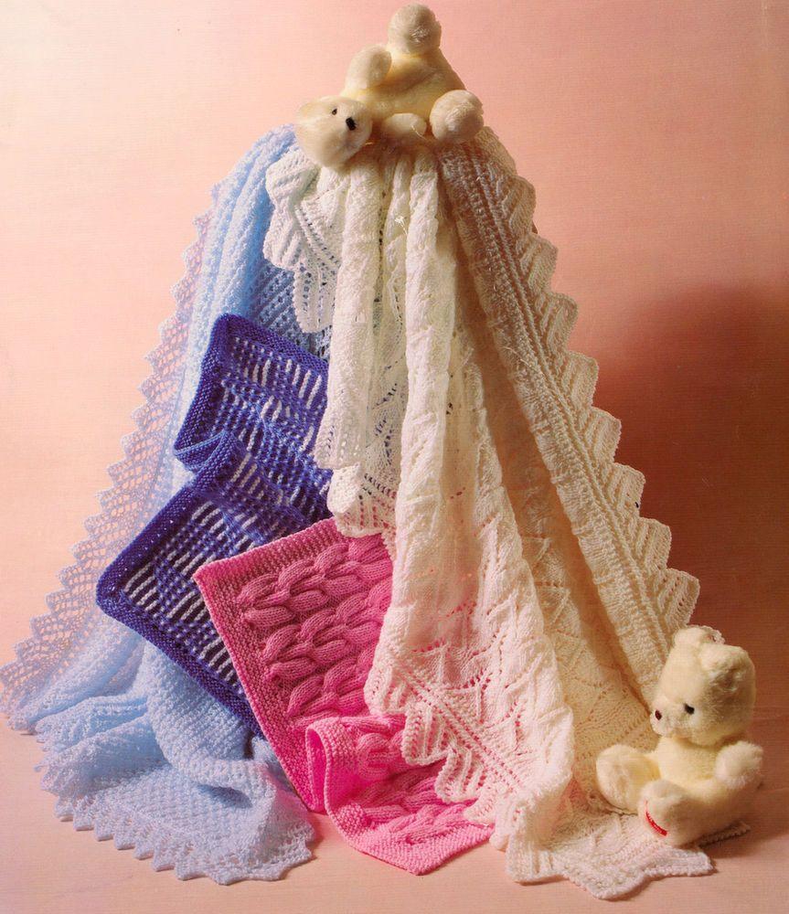 Vintage Knitting Pattern Baby Shawls (2) & Pram Covers(2) DK & 4 Ply ...