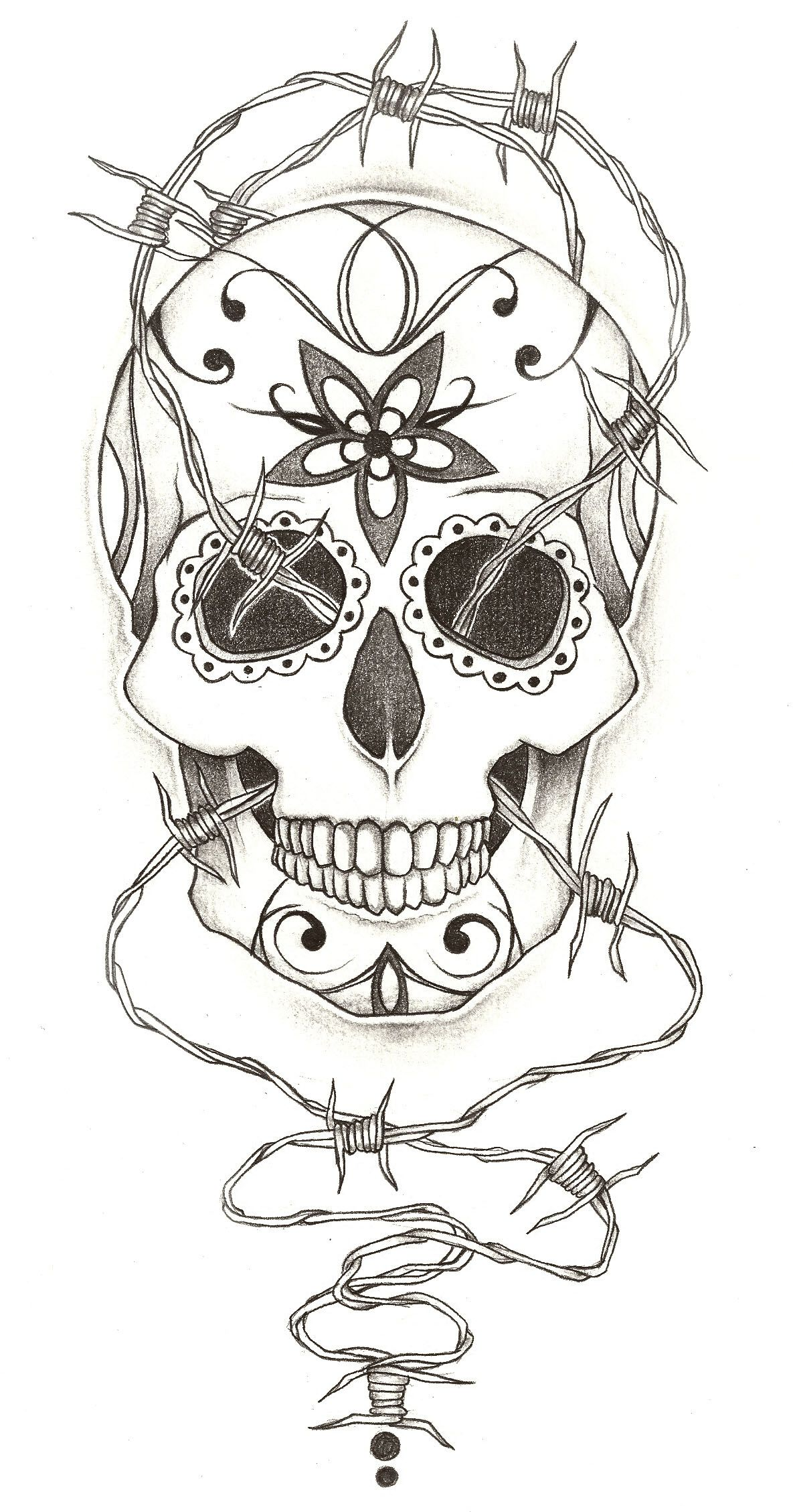 Drawings Of Skulls With Barbed Wire - WIRE Center •