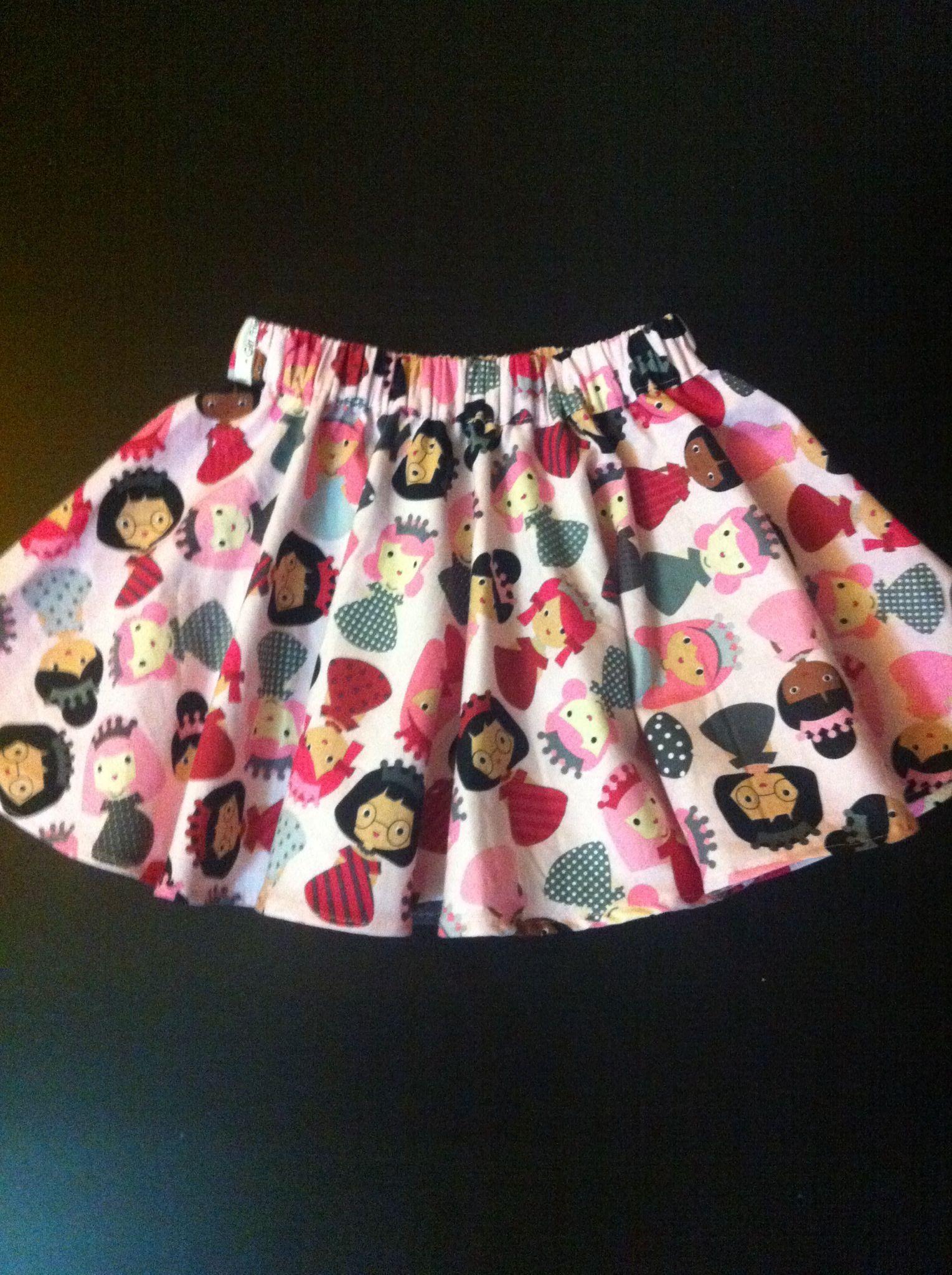 Falda para niña de 5 años con tela de princesas