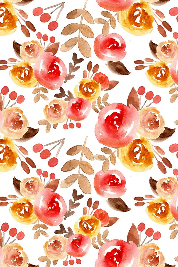 Free Fall Wallpaper For Iphone 6 Autumn Watercolor Floral By Smallhoursshop Red Orange