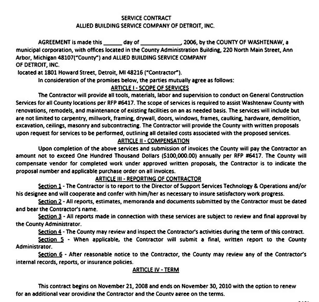 Sample Contract Agreement Template Contract Agreement Contract Business Template