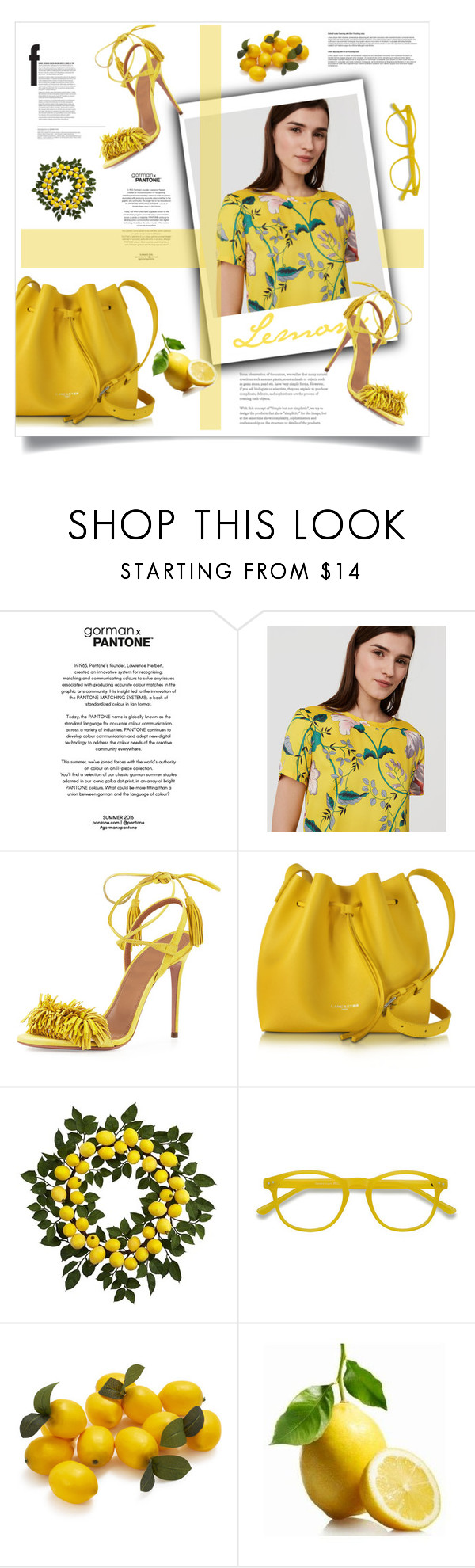 """For the Love of Lemons"" by emmagraceshaw ❤ liked on Polyvore featuring LOFT, Aquazzura, Lancaster, Nearly Natural, Sur La Table and Piazza"