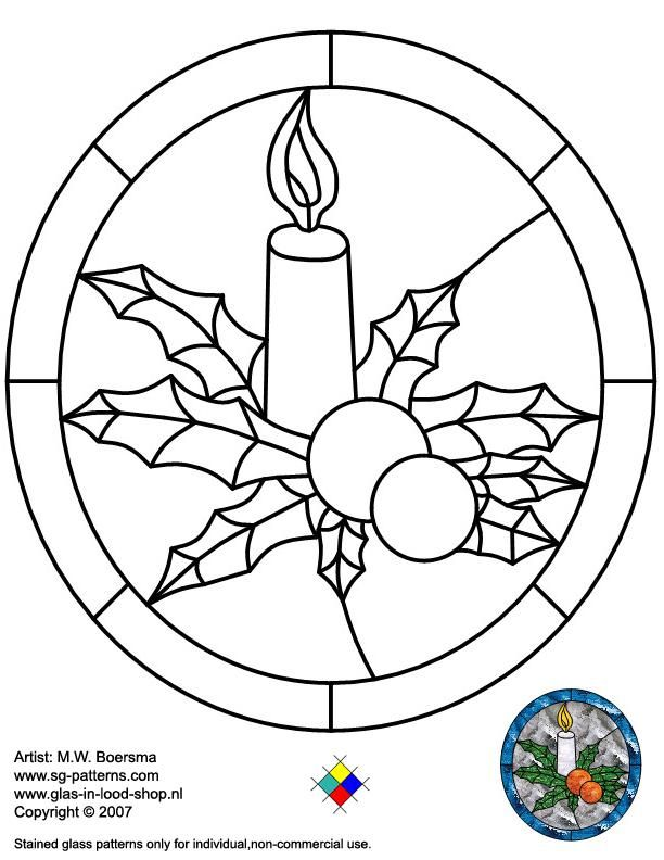 Stained Glass Patterns for FREE ☆ Glass pattern 056 Christmas ...