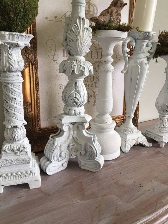 Tall White Candle Holders French Shabby Chic Candlestick Holders ...