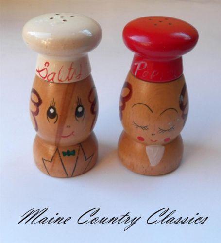 Vintage Salty Peppy Wooden Salt Pepper Shakers Made In Japan