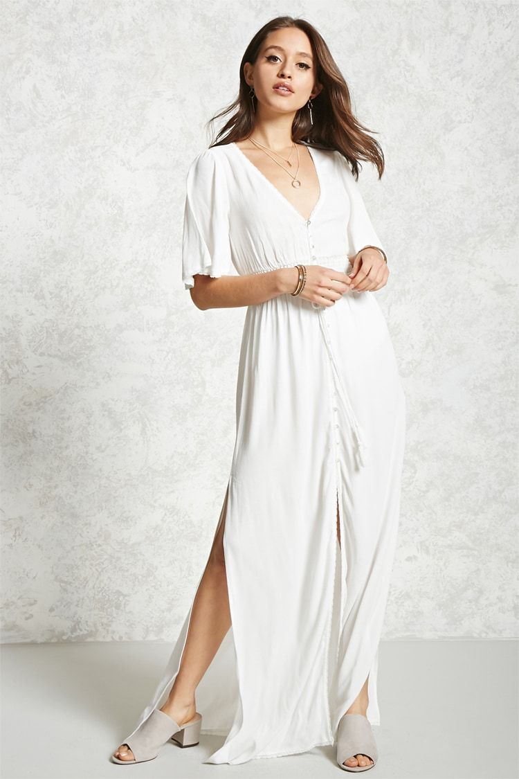 A semisheer textured woven maxi dress featuring a v