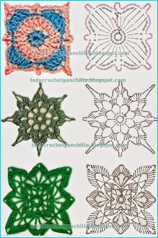 10 patrones de grannys tejidos al crochet / cuadros / squares   Todo ...