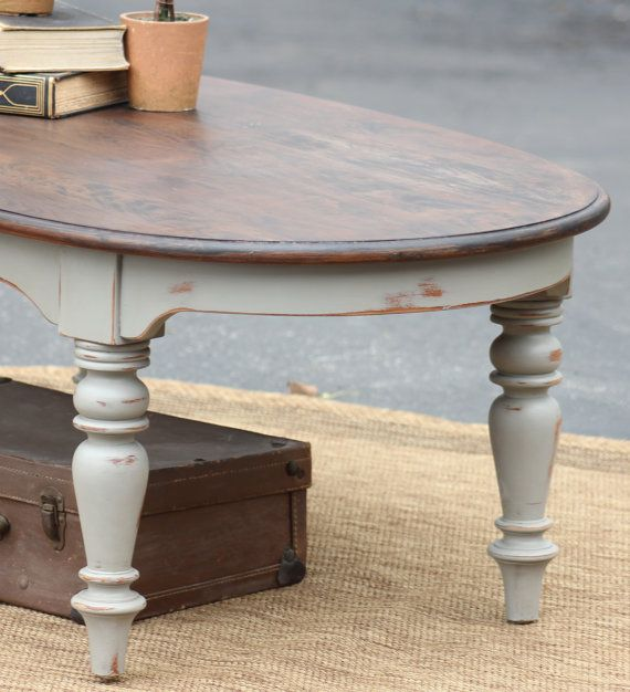 Oval Coffee Table With Wood Top Painted Coffee Tables Coffee Table Refurbished Coffee Tables