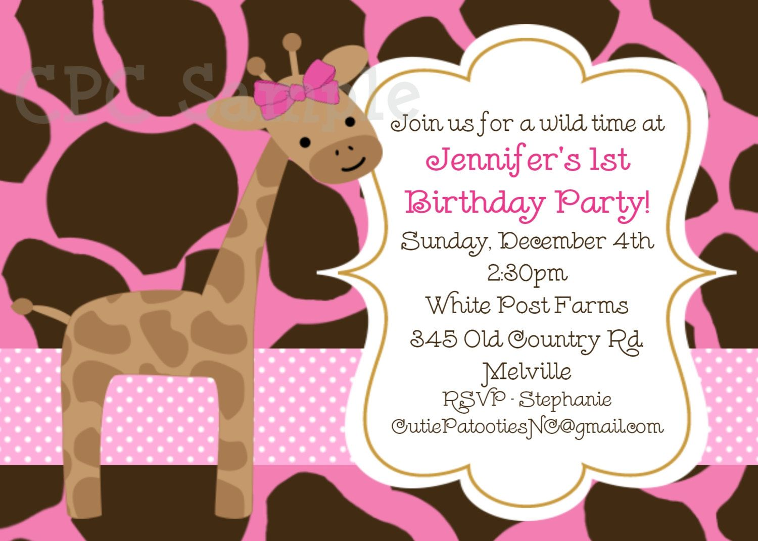 Pink Giraffe Birthday Invitation Giraffe Birthday Invitations ...