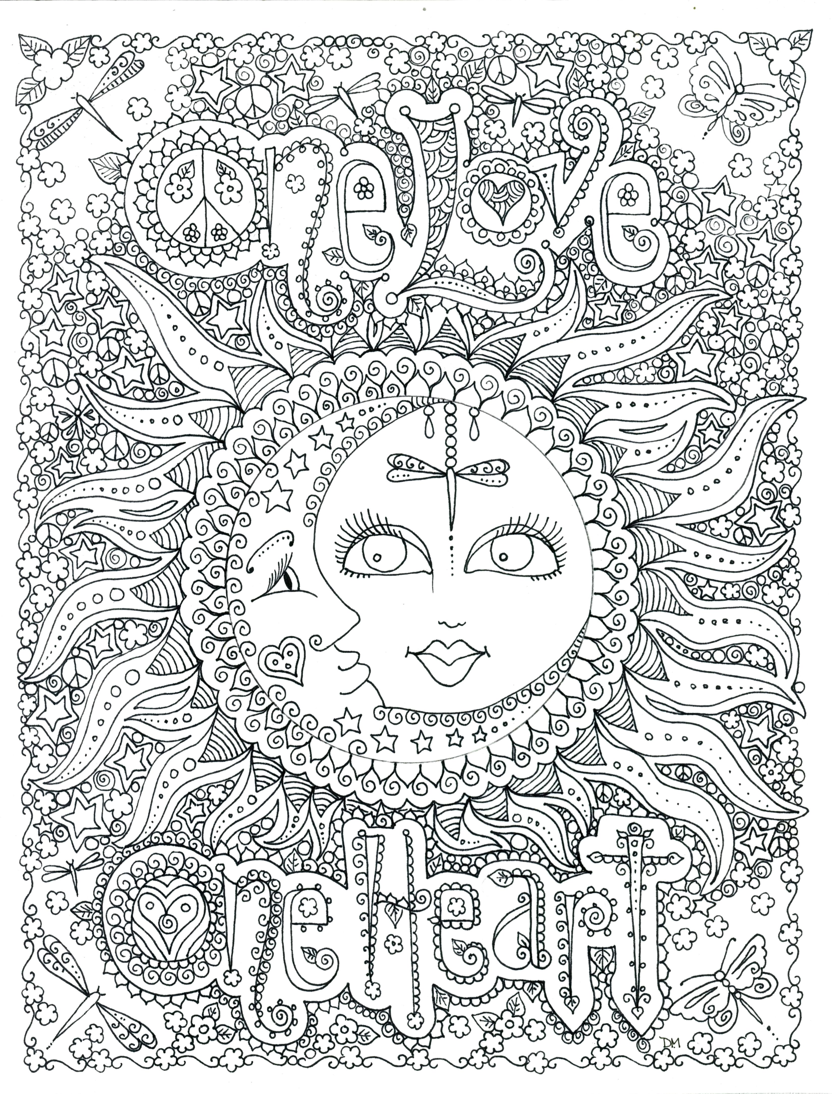 One Love Poster By Chubby Mermaid On Etsy Com Adult Coloring Pages