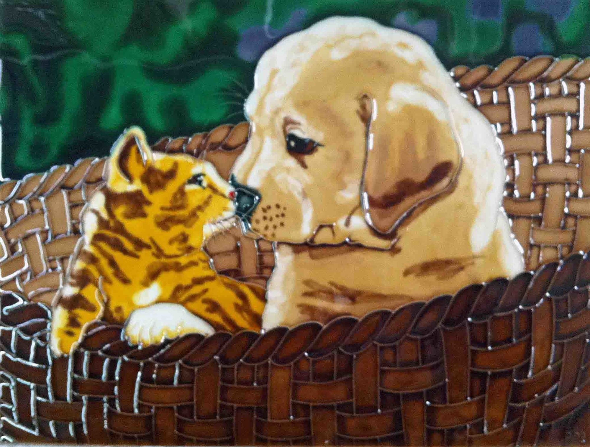 Kitten and Puppy Tile Wall Decor