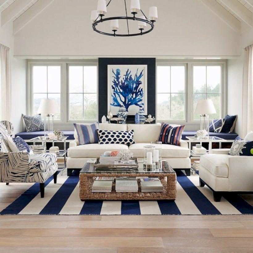 55 Beachy and Coastal Style Living Room Ideas Coastal style