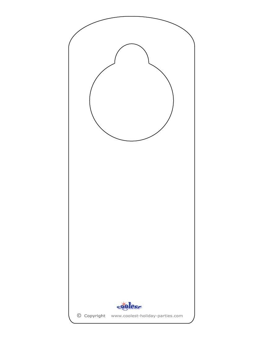 Blank printable doorknob hanger template door hanger