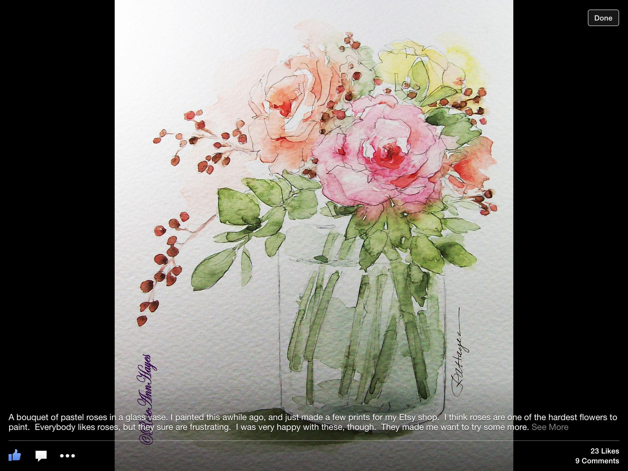 Roses In A Clear Vase Watercolor Flowers Paintings Watercolor