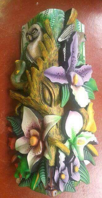 Orquideas Alto Relieve Clay Wall Art Decoupage Clay Crafts