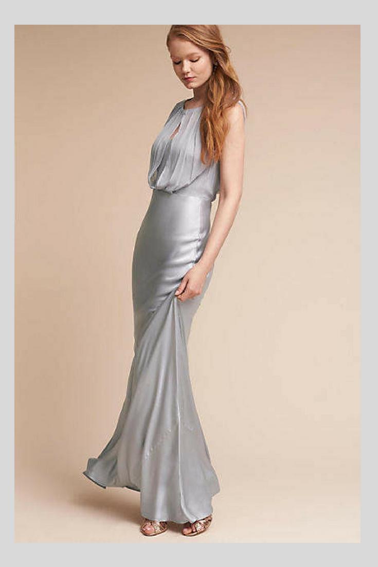 Grey wedding guest dress  Anthropologie Breathless Wedding Guest Dress This sleek satin dress
