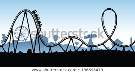 A Cartoon Silhouette Of A Rollercoaster In An Amusement Park Cartoon Silhouette Roller Coaster Stock Images