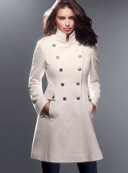 ec8afc6c33a9e Victoria's Secret beyaz renk hakim yaka kaşe kaban modeli | Moda ...