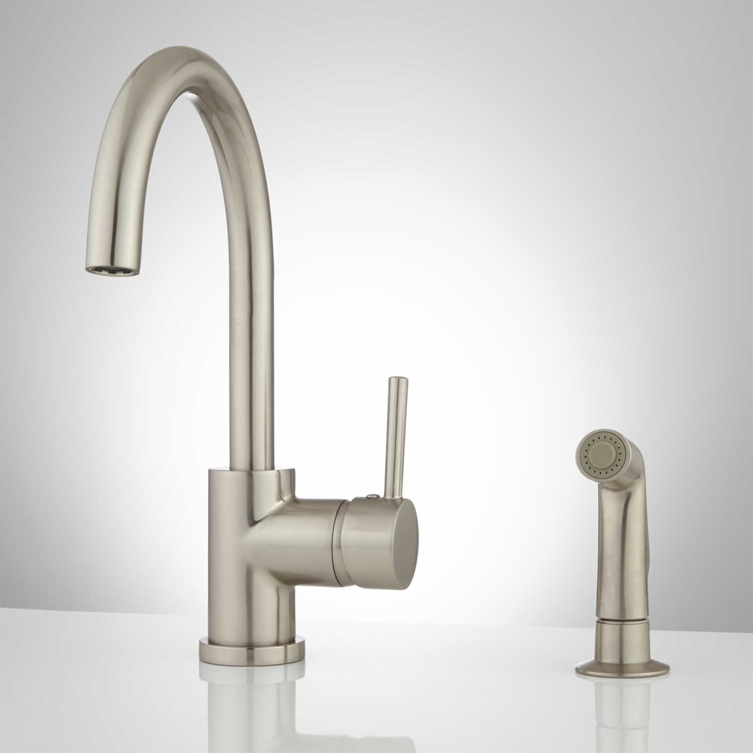 Lora Gooseneck Single Handle Kitchen Faucet with Side Spray ...