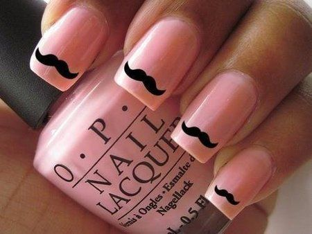 OPI Pink mustache manicure #Nails #Nailart #nailpolish - bellashoot.com