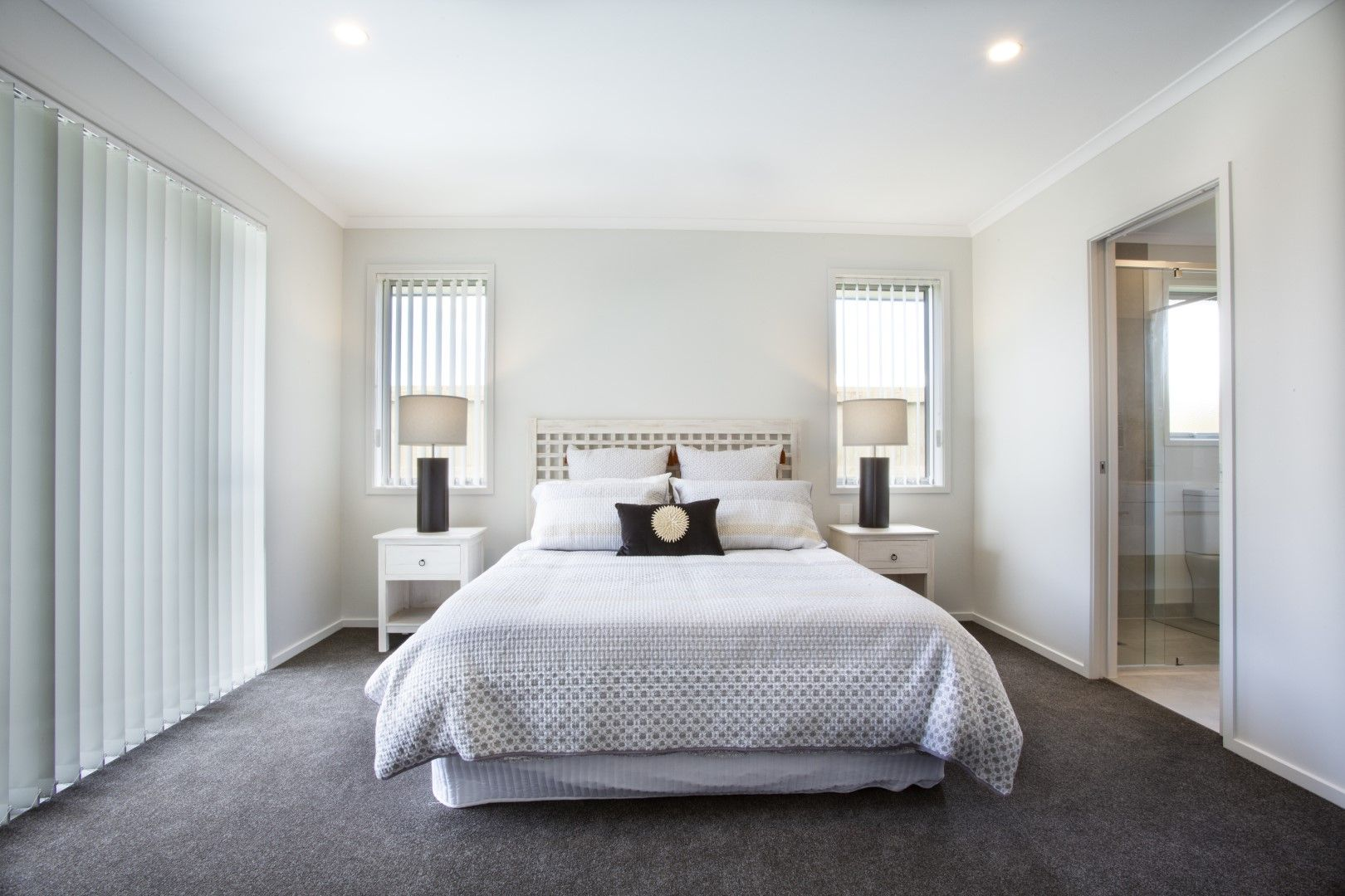 This Master Bedroom Has A Lovely Symmetry With The Matching Double Windows Bedside Tables And Laps 4 Bedroom House Plans 4 Bedroom House Bedroom House Plans