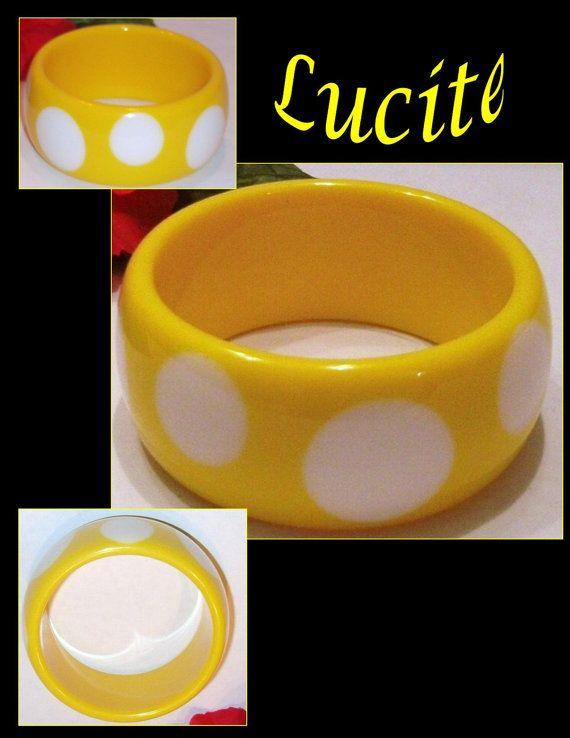 Wonderful vintage Lucite Yellow polka dot bangle by PurpleHazeDayz,
