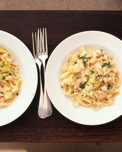 Fettuccine with Leeks and White Beans - Martha Stewart Recipes