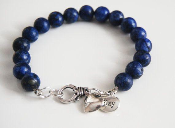 Men S Bracelet Lapis Lazuli Beaded By Ferozasjewelryformen On Etsy 30 00