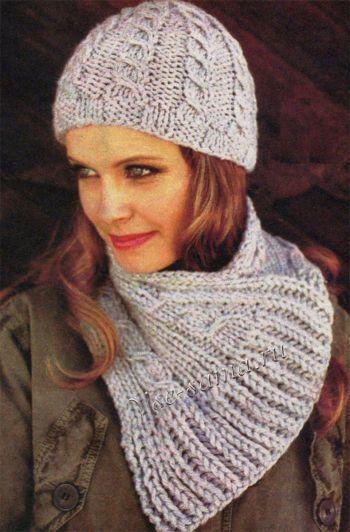 Комплект с косами - шапка и шарф, фото | Идеи для вязания ...