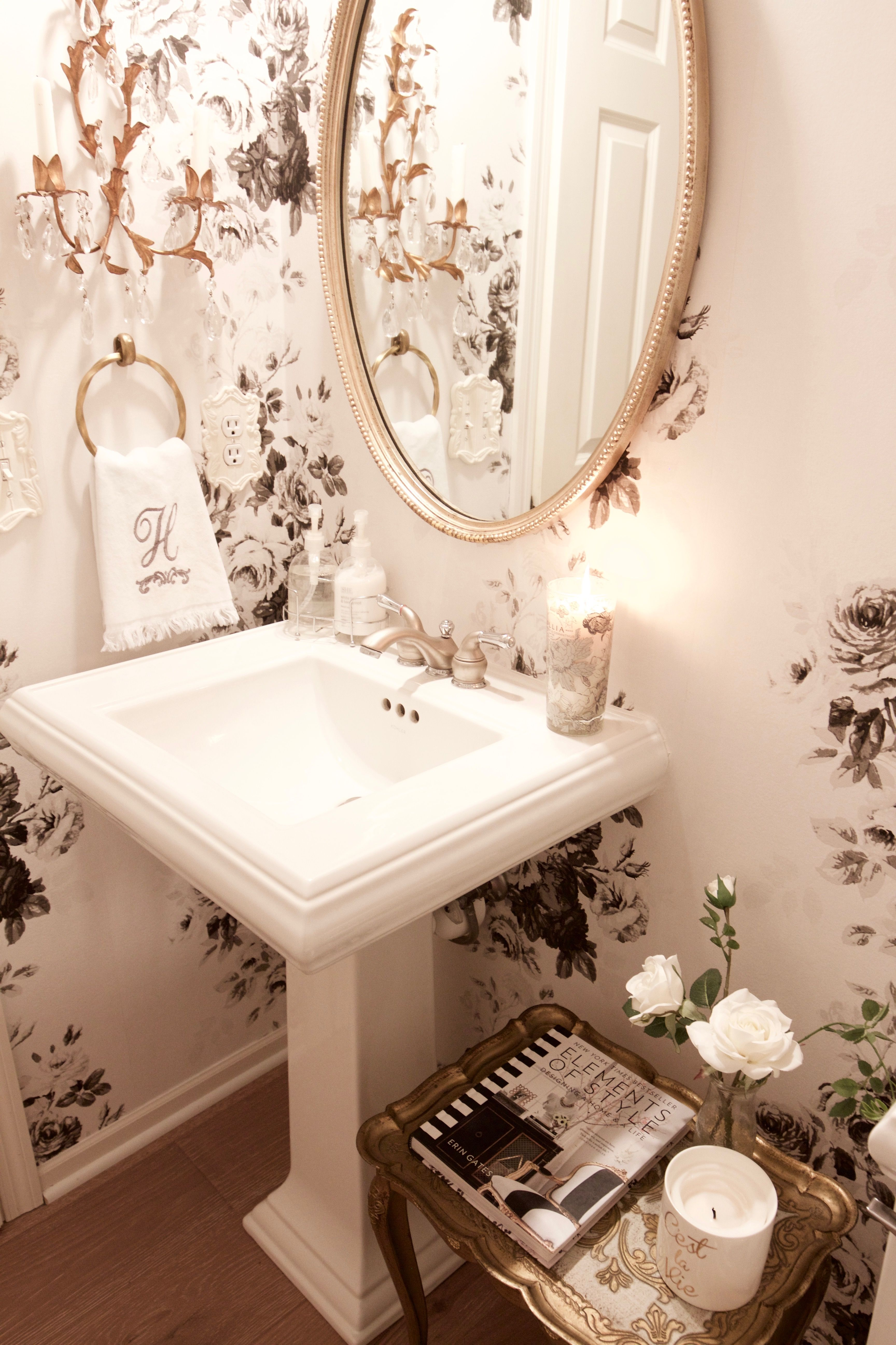 Vintage Glam Powder Room Makeover Styled With Lace Bathroom Decor French Country Bathroom Bathroom Wallpaper