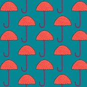 Colorful fabrics digitally printed by Spoonflower - Colorful Polka Dot Umbrellas