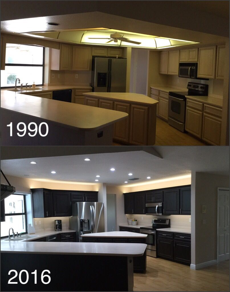Before and after my kitchen remodel.   Redo kitchen cabinets, New kitchen cabinets, Kitchen remodel