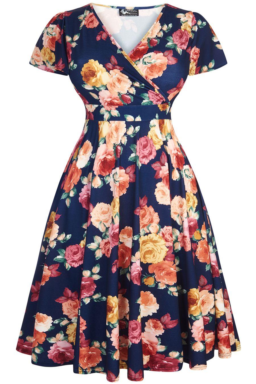 1c40d883 Mega seje Flot marine blå 50er kjole med smukke blomster og flagrende skørt  50 Modetøj til Damer i dejlige materialer