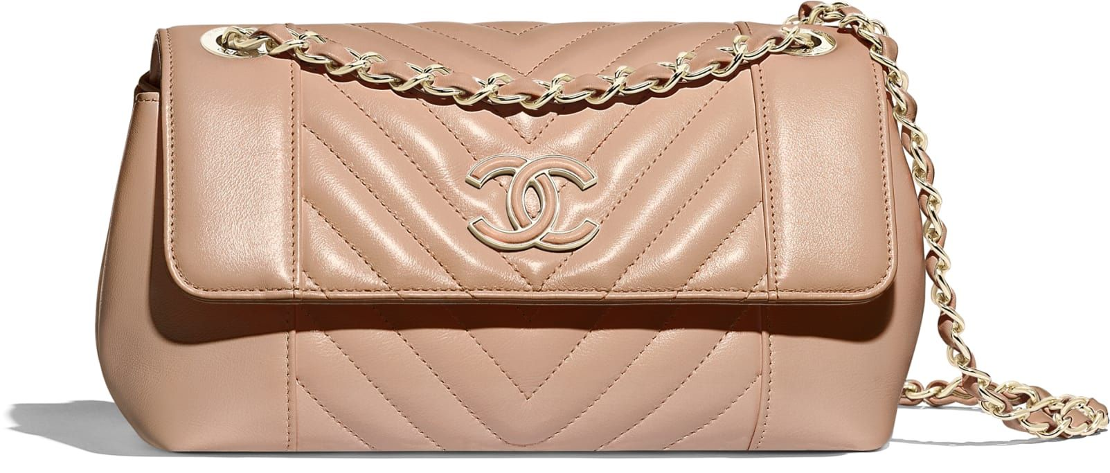 48565f126 Bolsa, couro de novilho & metal dourado., branco. - CHANEL | Chanel ...