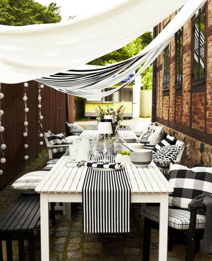 ikikea gartenmöbel outdoor möbelset weißer esstisch sonnensegel - lounge gartenmobel mit esstisch