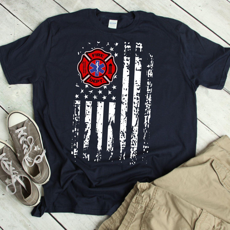 Emt firefighter shirt firefighter emt american flag gift