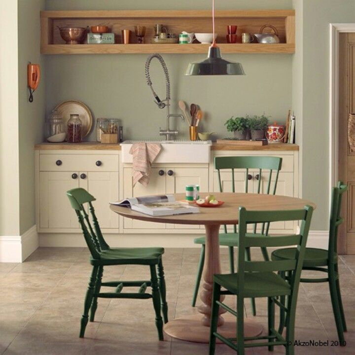 Gorgeous kitchen overtly olive and natural hessian walls white cupboards and wooden counters for Dulux natural hessian living room